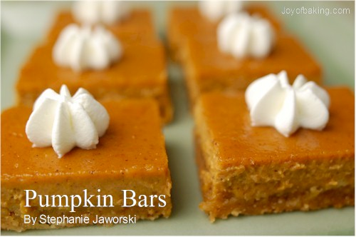 Pumpkin Bars Recipe Joyofbaking Com Tested Recipe