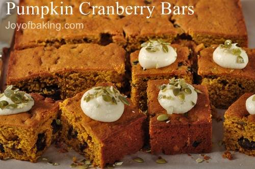 Pumpkin Cranberry Bars Recipe